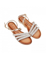 Sandalia semi-plana piel con abalorios Gioseppo