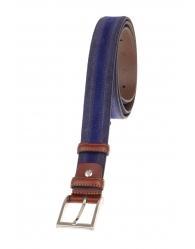 Cinturón bicolor enganche marrón